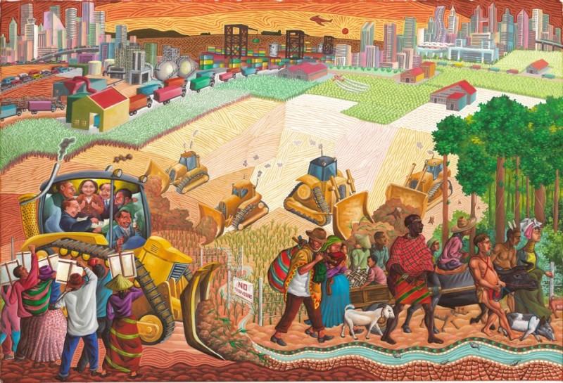 """""""Ocupación de terrenos"""". Federico Boyd Sulapas Dominguez publicó esta pintura para la reunión anual del Foro de Cooperación Económica Asia-Pacífico que se celebrará en Filipinas.  Compartida con permiso."""