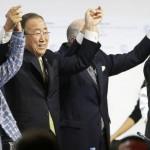 París. La Secretaria Ejecutiva de la CMNUCC, Christiana Figueres, junto al secretario general de la ONU, Ban Ki-moon; el presidente de la COP 21, Laurent Fabius, y el presidente de Francia, Francois Hollande. (Foto: AFP)