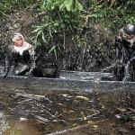 Más de 300 personas realizan labores de limpieza en el río Chiriaco (Amazonas). El Comercio ha recorrido la zona y comprobado la afectación ambiental por el crudo.(Foto: Archivo El Comercio)