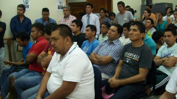 """Los 16 de los integrantes de la banda """"Los Patrones de Ucayali"""", dedicada al tráfico ilícito de madera, pasarán los próximos 18 meses en la cárcel. (Foto: Yulissa Casana)"""