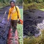 Petróleo contenido en el canal de flotación se desbordó el mismo mes de noviembre por las fuertes lluvias. Foto: Puinamudt