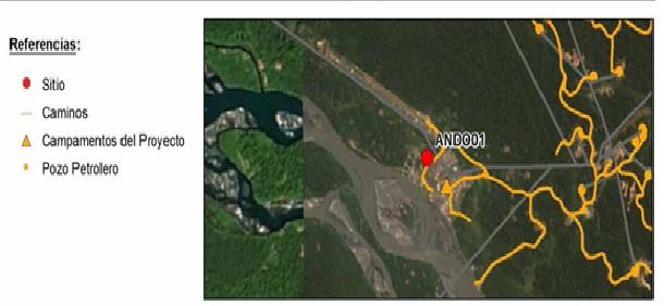 Figura 5. (Informe de Identificación de Sitio. Pluspetrol Norte S.A., Lote 1AB Loreto, Perú. Sitio ANDO01, p. página 8-2). Croquis elaborado por el Ing. Gutiérrez de CH2M Hill.