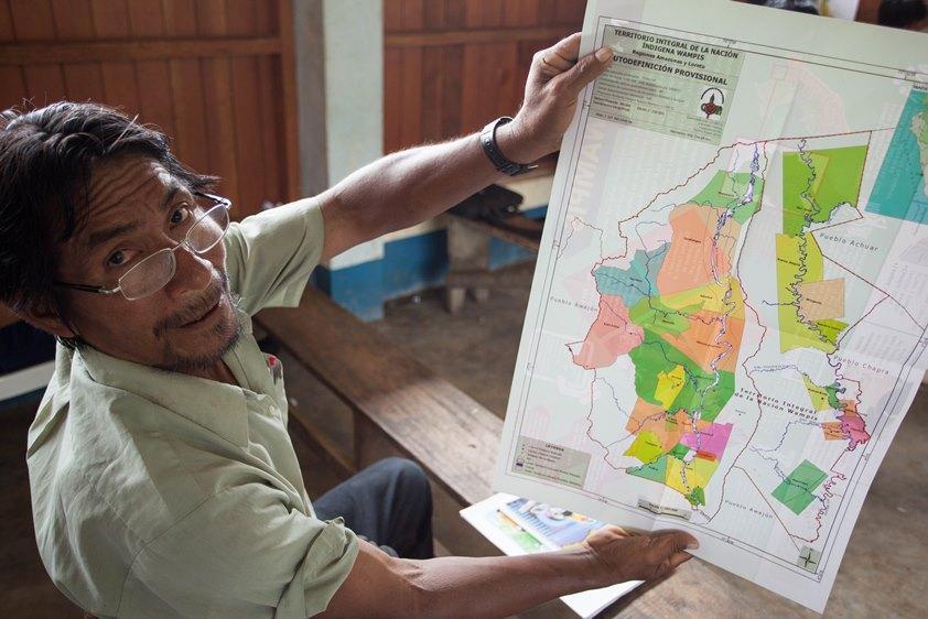 Mapa del Gobierno Territorial Autónomo de la Nación Wampis. Foto: Jonathan Hurtado