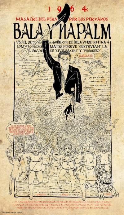 """Grafico del artista """"Markus"""" inspirado en los hechos con los indígenas matsés. Fuente: http://lomaterialyloideal.blogspot.pe"""