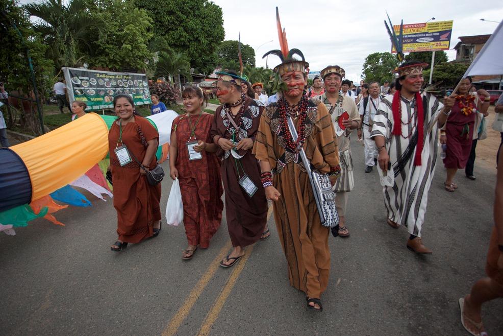Indígenas del pueblo Asháninka en marcha del VIII FOSPA, en Tarapoto. Foto: CAAAP