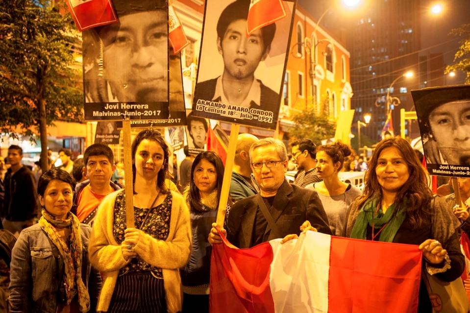 Miembros y amigos y amigas del CAAAP presentes en la movilización. Foto: CAAAP
