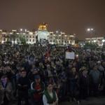 Plaza San Martín, parada final de la marcha contra el indulto a Alberto Fujimori. Representantes de diversos colectivos cerraron la jornada con mensajes de lucha. Foto: CAAAP
