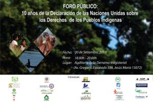FORO PÚBLICO: 10 Años de Declaración de las Naciones Unidas sobre los Derechos de los Pueblos Indígenas @ Auditorio de la Derrama Magisterial | Jesús María | Perú