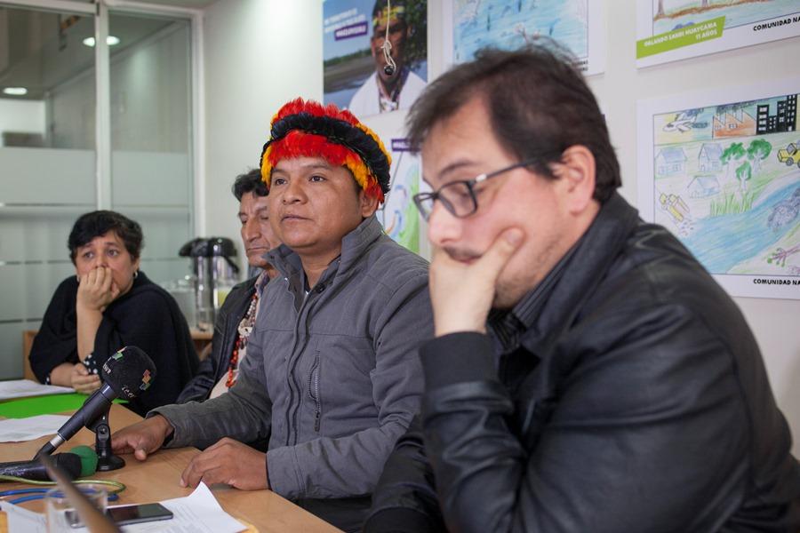 Conferencia de prensa en Lima, el 6 de setiembre. En la imagen, al centro, Carlos Sandi, Presidente de la Feconacor. Foto: CAAAP
