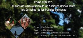 Foro público sobre decenio de la Declaración de NN.UU. sobre derechos de los PP.II., el miércoles en Lima