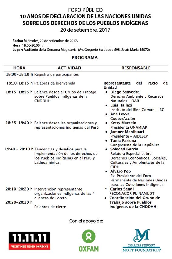 Programa final_Foro 10 años Declaración naciones Unidas