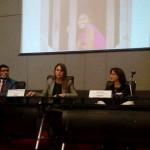 Juan Rodríguez, Claudia del Pozo y Olga Isaza en la presentación de análisis. Foto: Difusión