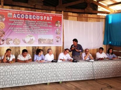 Intervención del presidente de la ACODECOSPAT Alfonso López durante la reunión. Foto: CAAAP Loreto