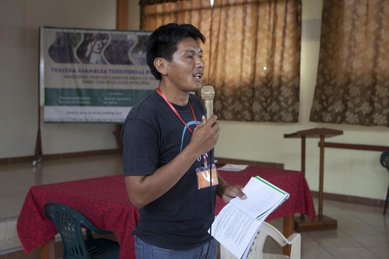 Ribelino Ricopa en la tercera asamblea territorial presinodal, encuentro preparatorio al Sínodo de la Amazonía que se realizará el próximo año en Roma. Foto: CAAAP
