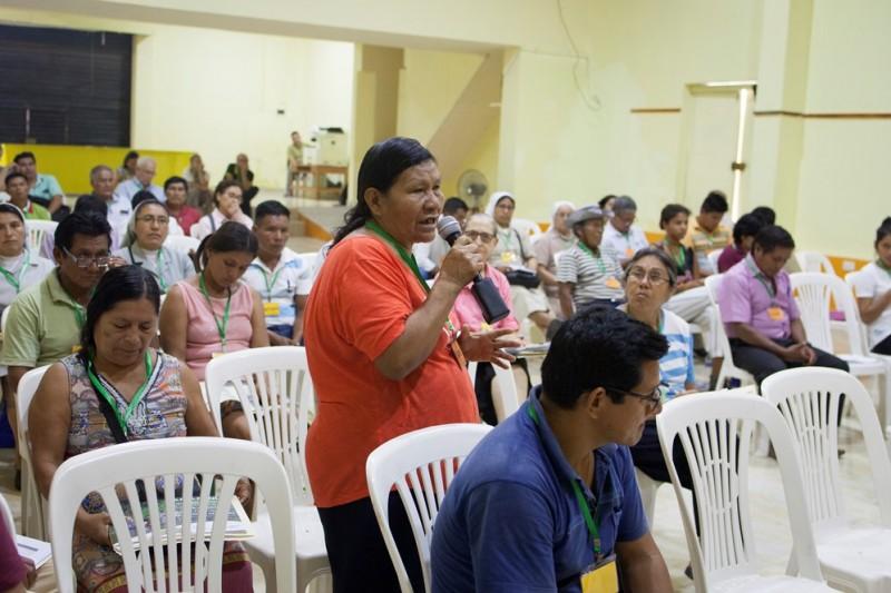 Participando en la asamblea territorial presinodal que se realizó en Yurimaguas, en setiembre último. Foto: CAAAP
