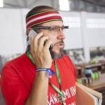 Diego Clavijo en comunicación con un medio local para dar alcances de lo tratado en la asamblea. Foto: CAAAP
