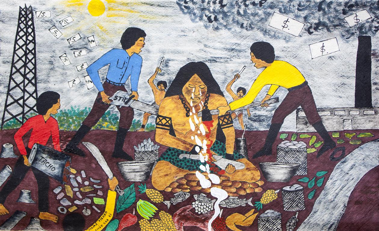 Mamá Tierra, pintura De Santiago Yahuarcani. Foto: CAAAP