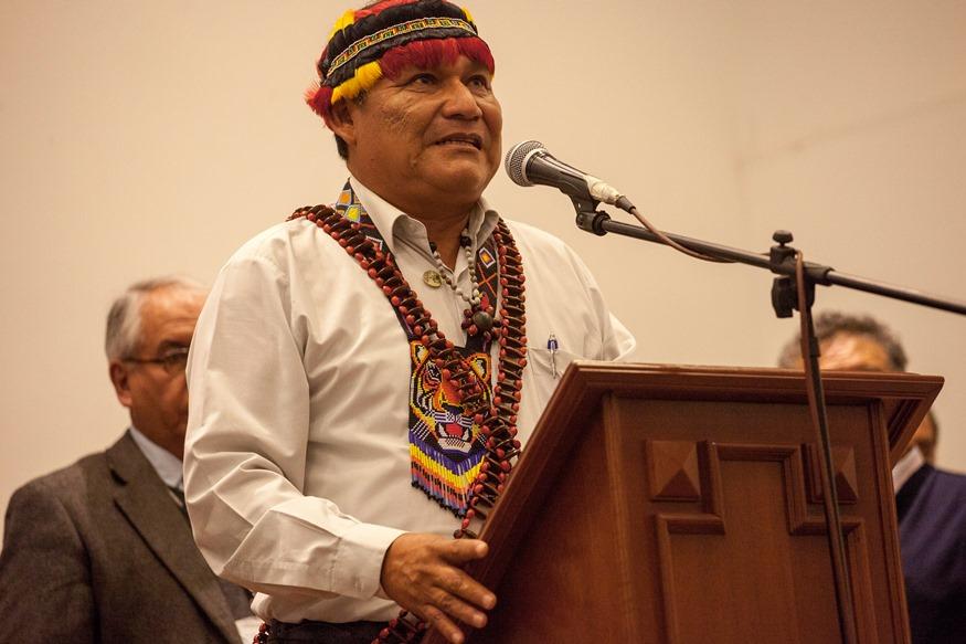 Wrays Pérez, presidente del Gobierno Territorial Autónomo Wampis, durante un evento de 2017. Foto: CAAAP