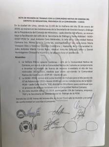 Acta de acuerdos suscrita con fecha 30 de enero. Foto: Radio Quillabamba