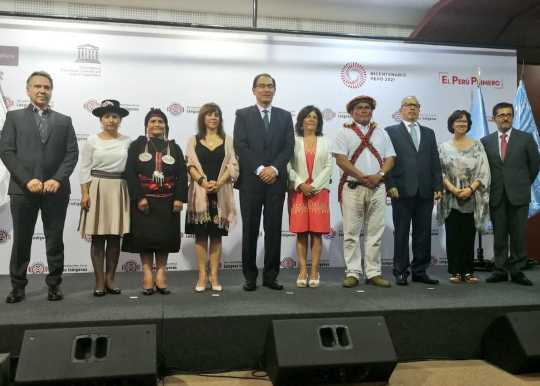 Presidente Martín Vizcarra asistió a ceremonia por el Año Internacional de las Lenguas Indígenas.