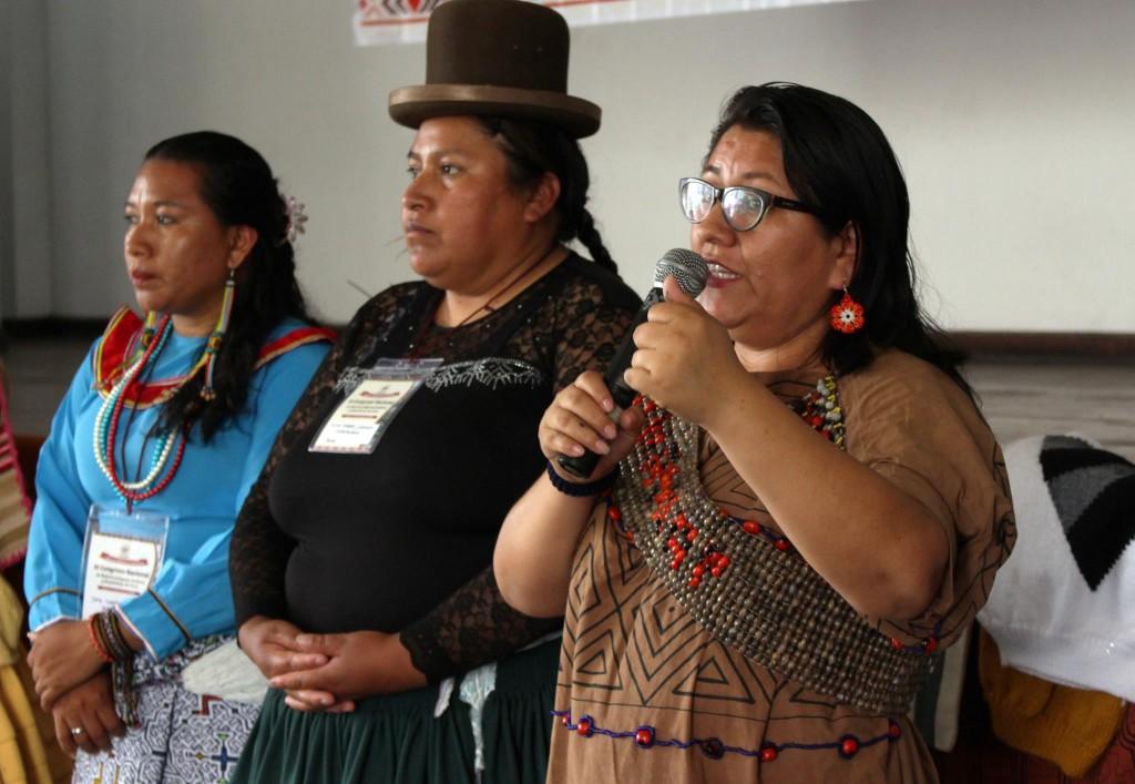 Ketty Marcelo, en calidad de presidenta de ONAMIAP, durante el evento desarrollado en Huachipa. Foto: ONAMIAP
