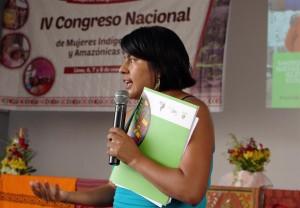 Ángela Vilca (CAAAP) durante su exposición con la temática del Sínodo Amazónico. Foto: Onamiap