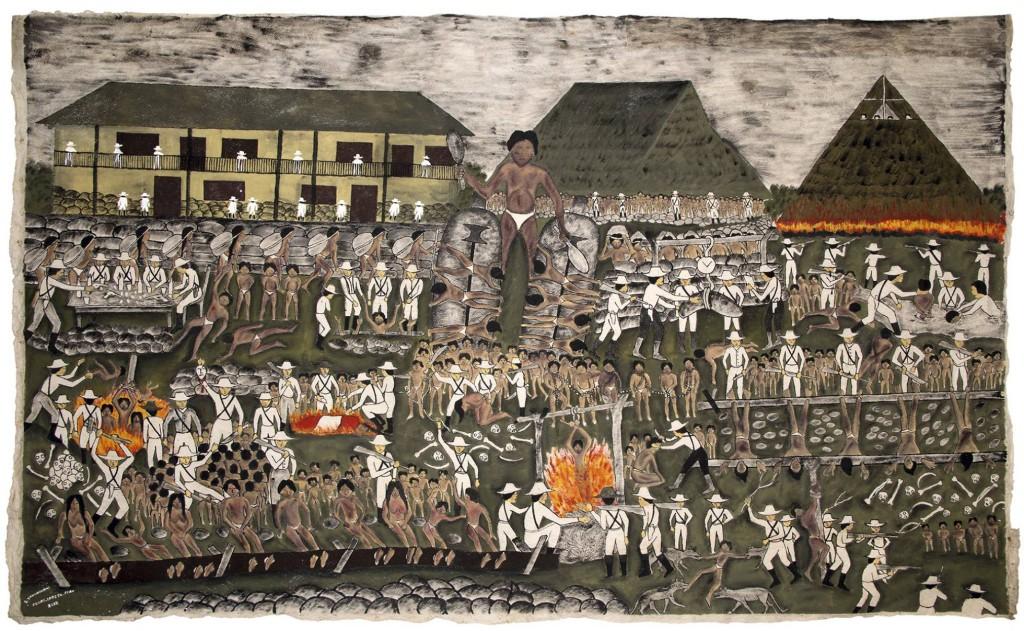 El corazón de los barones del caucho, de Santiago Yahuarcani López. Tintes naturales sobre corteza vegetal. Foto: El País
