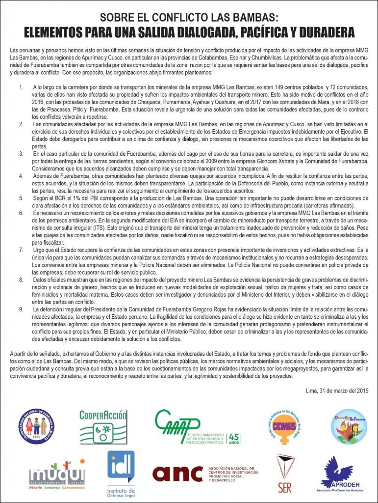 En total el comunicado ha sido firmado por diez organizaciones, todas en defensa de los Derechos Humanos. Foto: CAAAP