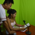 Rusber Rucoba y Fiore López, quienes dieron voz a los spots sobre los impactos de Hidrovía Amazónica. Foto: CAAAP
