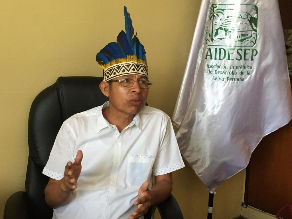 El líder Kichwa Richard Rubio, durante entrevista efectuada en la sede de AIDESEP en Lima. Foto: Beatriz García