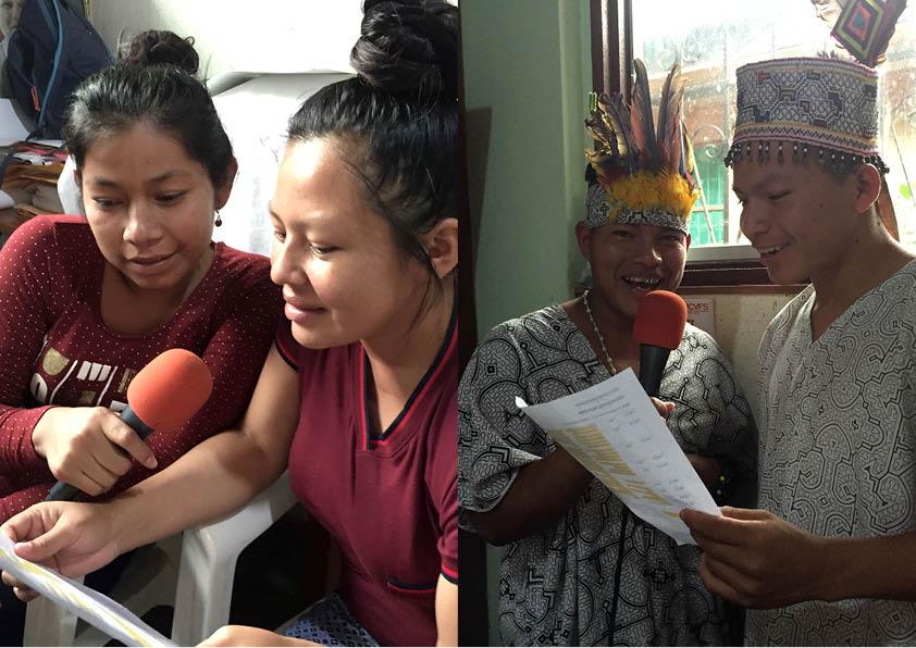 Alumnas ashéninkas y alumnos shipibos, durante la grabación. Foto: Beatriz García