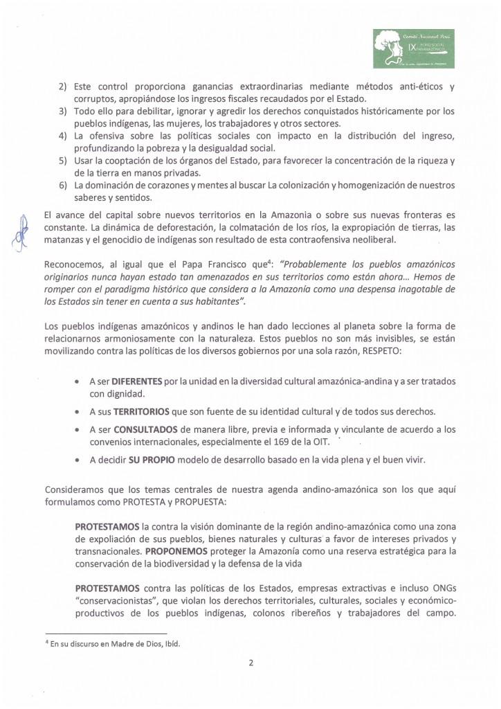 Segunda página de la carta