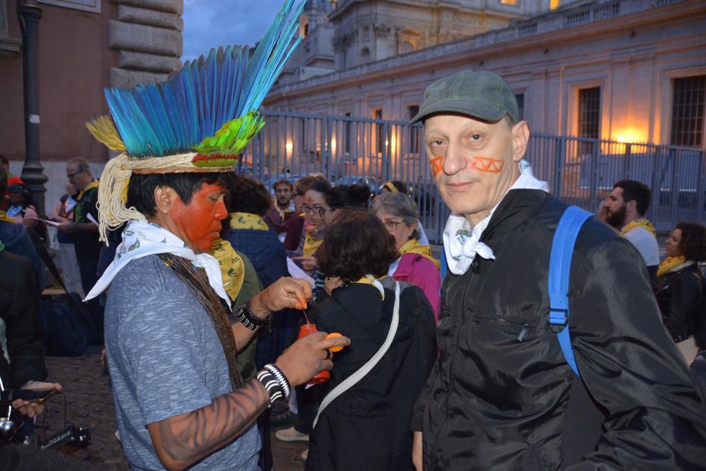 El achiote dio color a los rostros de la mayoría de los participantes. Foto: REPAM