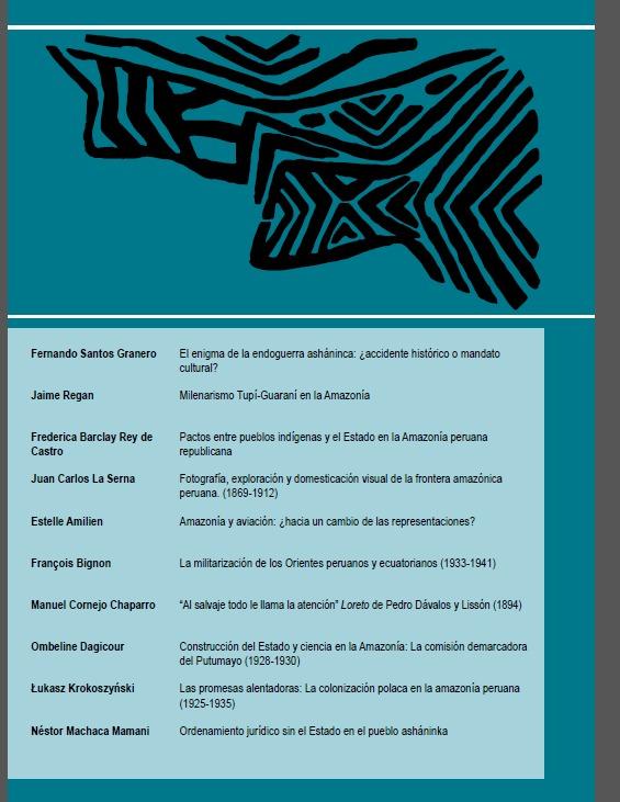 Contracarátula del número 32 de 'Amazonía Peruana', con detalle de artículos y autores.