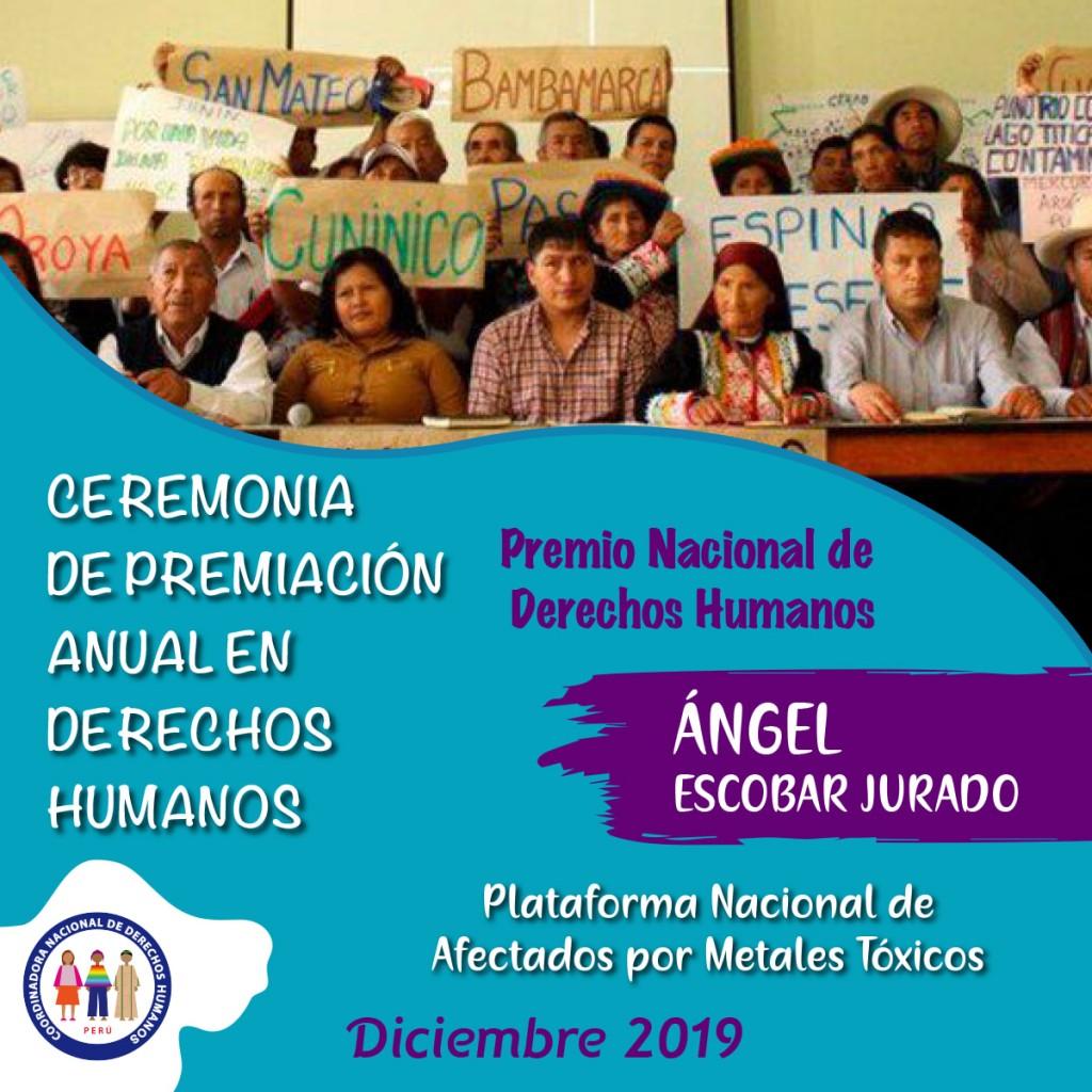 La Coordinadora Nacional de Derechos Humanos (CNDDHH) ya ha hecho público este reconocimiento que se entregará el próximo martes. Foto: CNDDHH