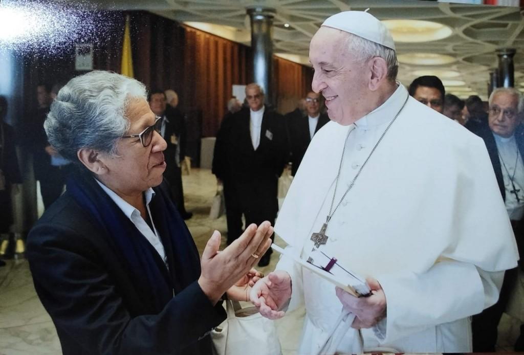 La hermana Zully Rojas, durante uno de sus encuentros con el Papa Francisco. Foto: Archivo