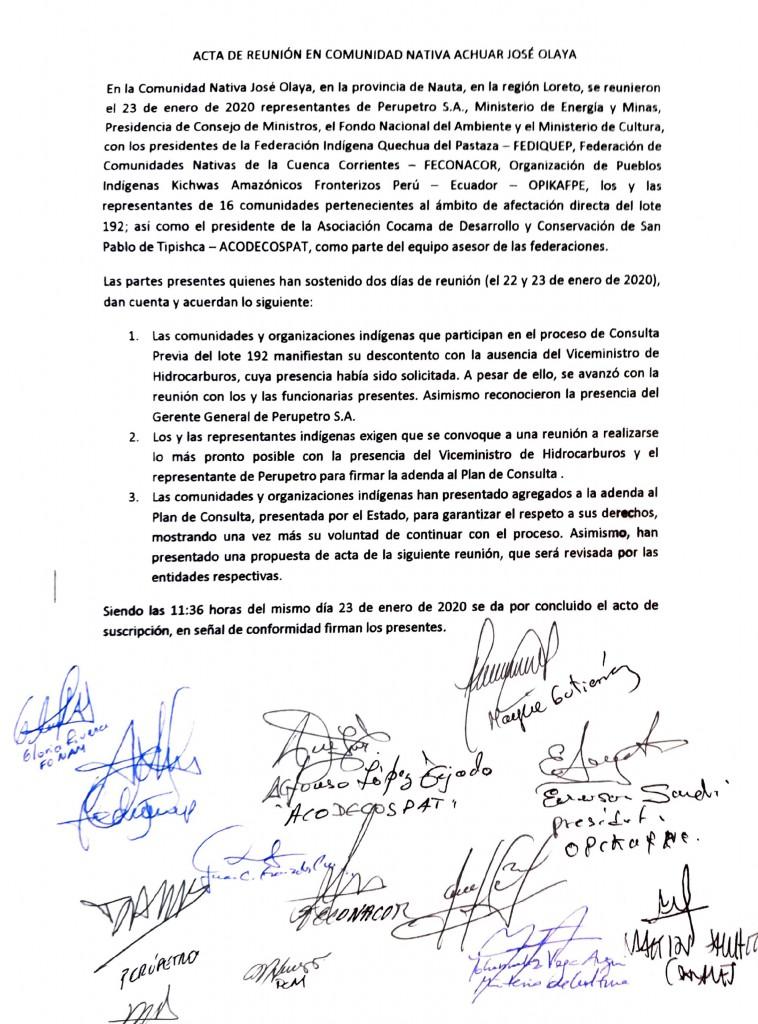 Acta final firmada por los líderes presentes en la reunión con PetroPerú. Foto: PUINAMUDT
