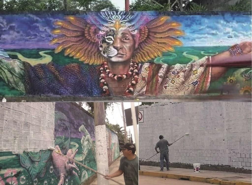 Usuarios en redes sociales plasmaron el momento en que la pintura era borrada. Foto: Cedidas