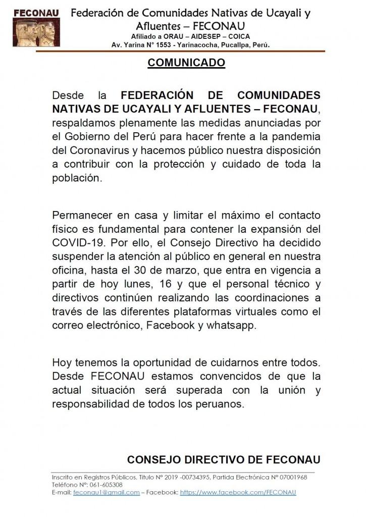 Pronunciamiento de FECONAU.