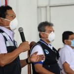 Autoridades de Loreto, durante la rueda de prensa ofrecida hoy en la mañana sobre la situación del COVID-19 en la región. Foto: DIRESA Loreto