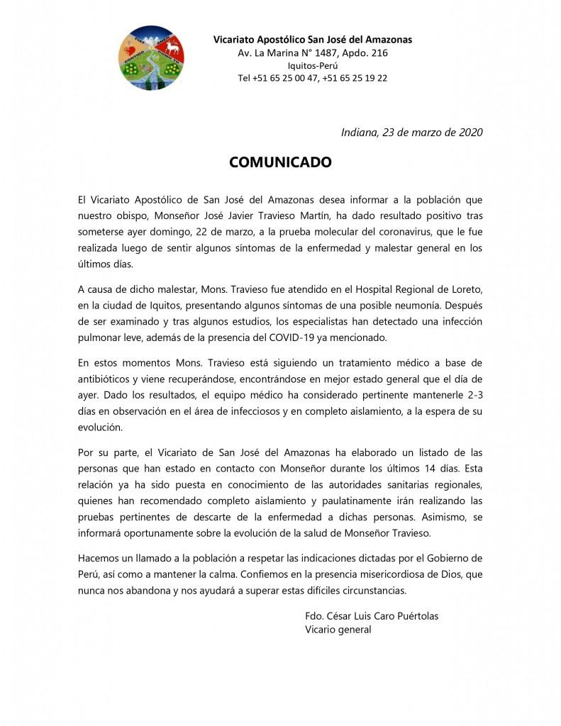 Comunicado oficial del Vicariato de San José del Amazonas.
