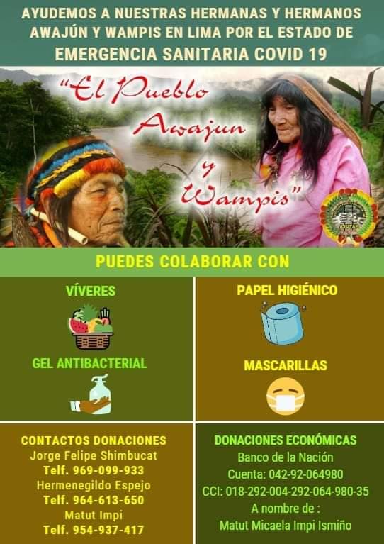 Afiche mediante el que solicitan la colaboración de empresas y personas para ayudar a sus paisanos. Foto: AJUTAP