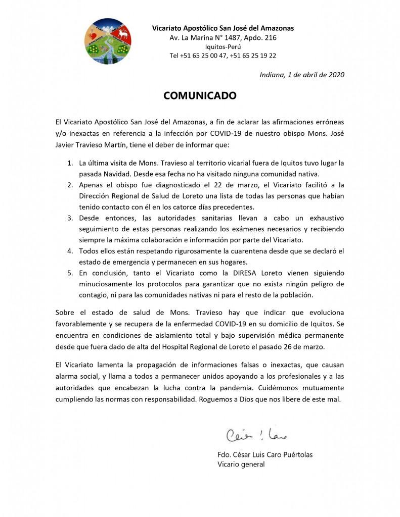 Comunicado del Vicariato San José del Amazonas