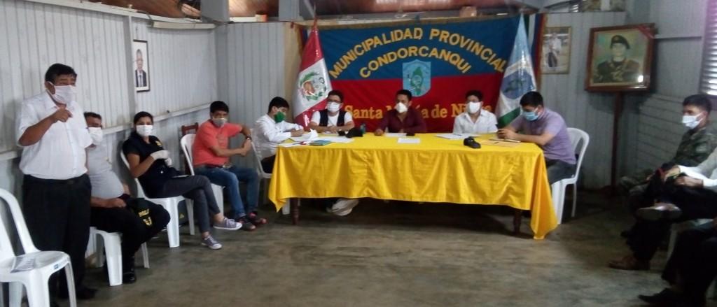 Plataforma Provincial de Defensa Civil ante la Pandemia por el COVID-19 de Condorcanqui. Foto: R. Kampagkis