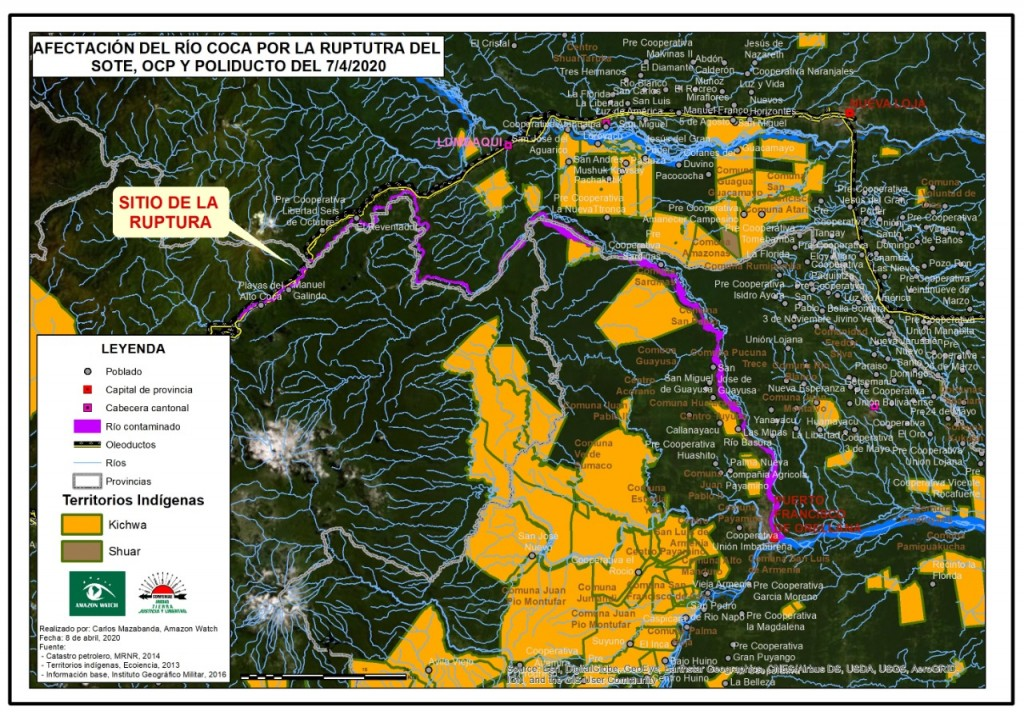 Mapa oficial difundido por el Gobierno Ecuatoriano.