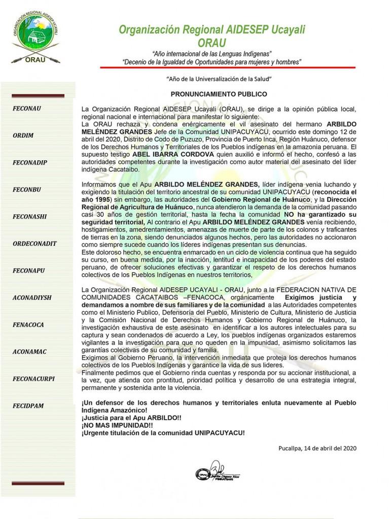 Pronunciamiento emitido por la Organización Regional Aidesep Ucayali (ORAU) de fecha 14 de abril de 2020. Foto: ORAU