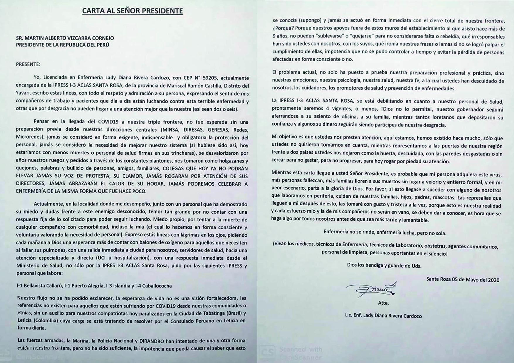 Foto: Carta completa dirigida al presidente Vizcarra.