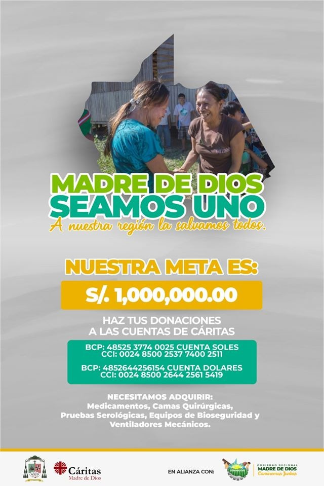 Afiche de la campaña coordinada desde Cáritas Madre de Dios.
