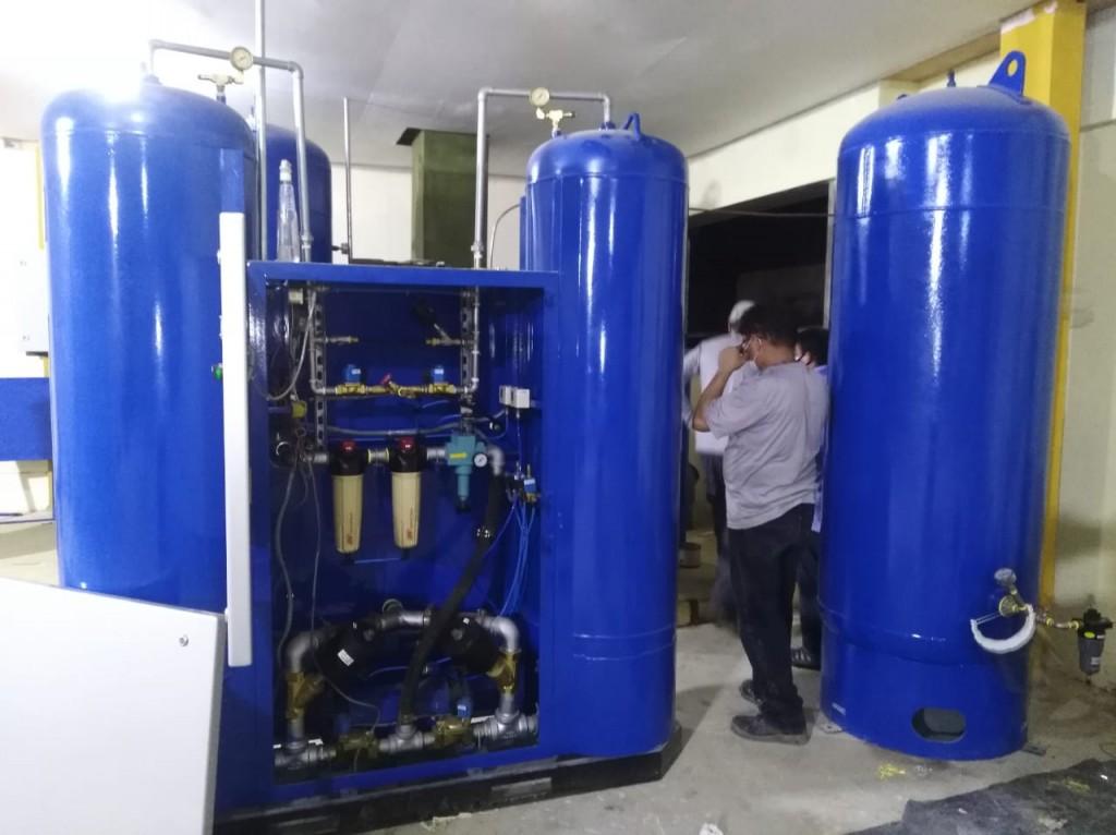 Imagen de la planta de oxígeno, ya instalada, del día de hoy. Foto: Vicariato de Iquitos