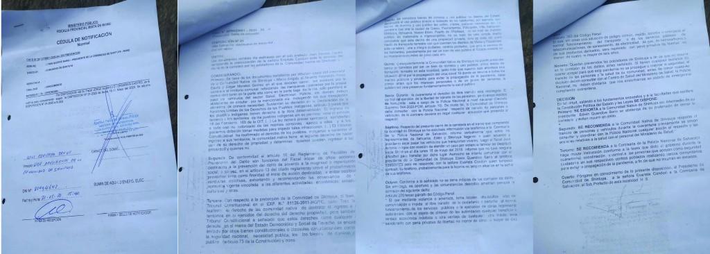 Notificación de la Fiscalía del Manu, recepcionada el 21 de mayo de 2020. Foto: COHARYIMA